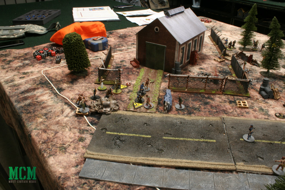 Zoomed out shot of Zombie Miniatures Game battle