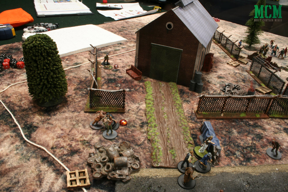 Battle table - two forces fight against zombies to gather scavenged treasures
