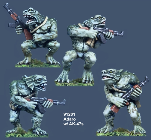 Adaro - 28mm Deep One miniatures with AK-47s