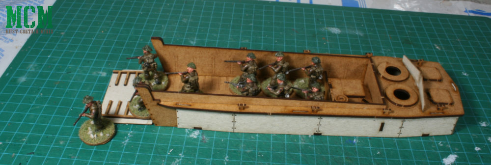 An American Sarissa Precision LCVP Higgins boat loaded up with British Solders - Bolt Action.