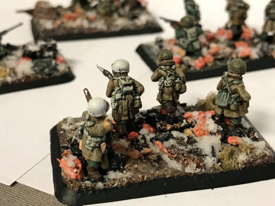 A winter based Flames of War stand.