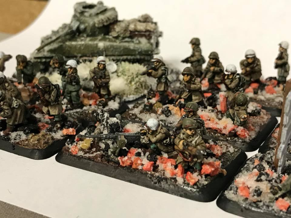 American Winter Infantry armed with a 50 Caliber Machine Gun. 15mm miniatures for Flames of War and other games.