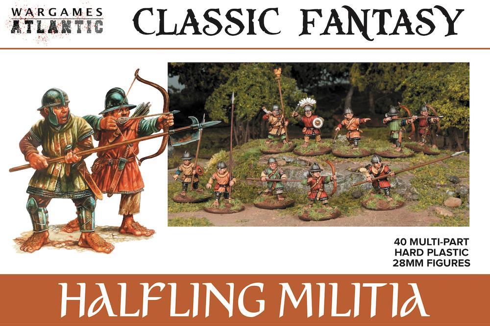 40 multi-part hard plastic 28mm Halfling Militia miniatures for a great price. Wargames Atlantic.