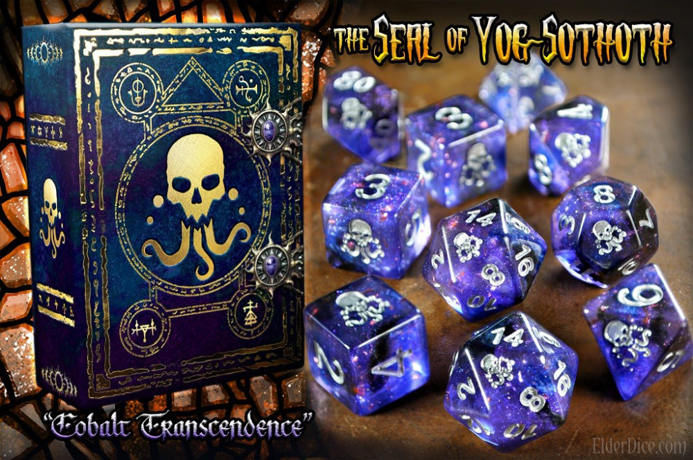 Cobalt Transcendence gaming dice with the Seal of Yog Sothoth - Great for Cthulhu based RPG Games, board games and miniatures games