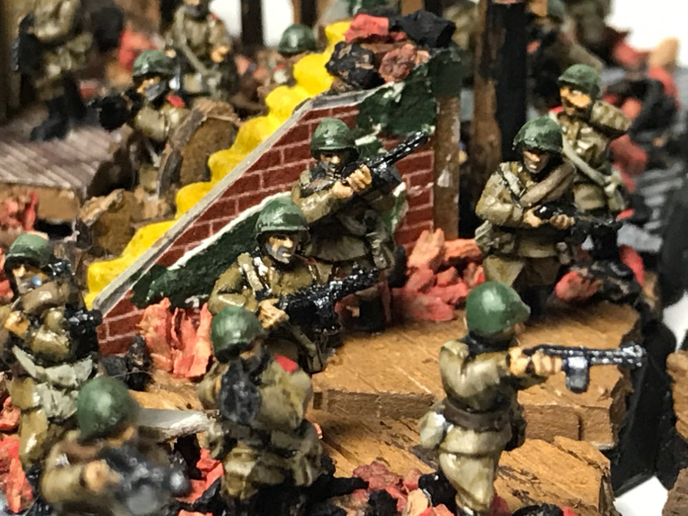 Close up of 15mm WW2 Russian SMG infantry miniatures