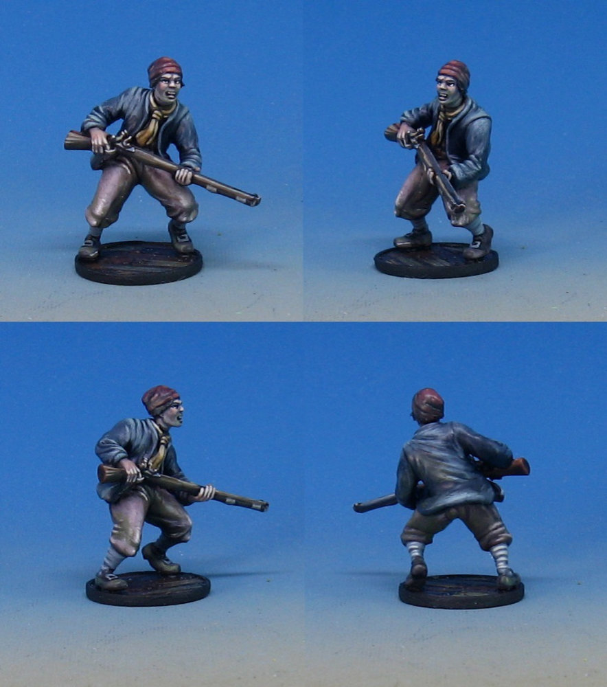 Sample Plastic Pirate Miniature for the upcoming Kickstarter Raise the Black for Blood and Plunder.