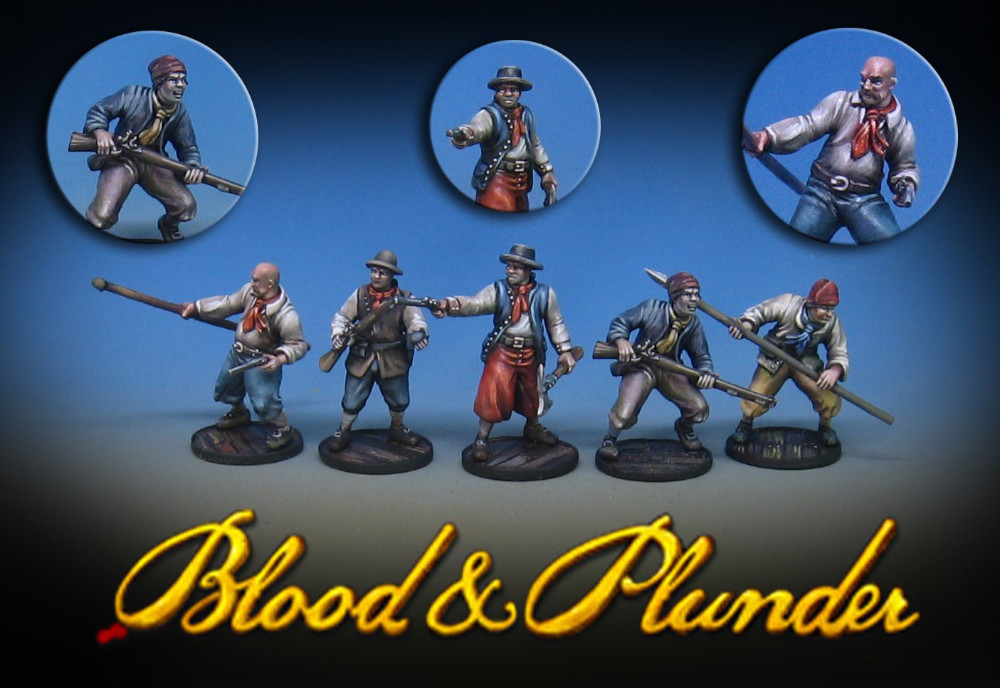 Sample Plastic Pirate miniatures painted by James Wappel