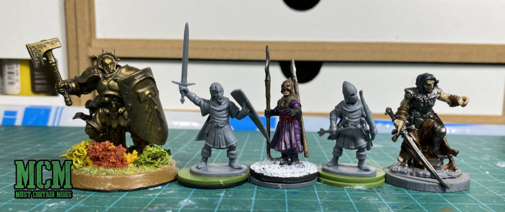 Scale Comparison of Oathmark Light Elf Infantry to Games Workshop, Frostgrave and Reaper Miniatures