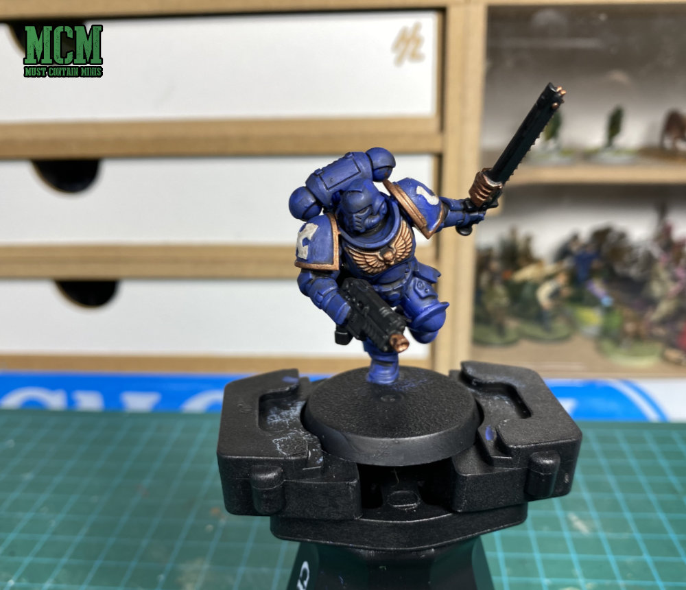 Painting Space Marine Intercessors using only what is in the Space Marine Assault Intercessors + Paints Set.