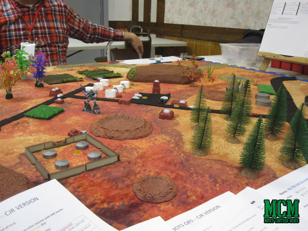 A better look at the tabletop and Cigar Box Battle Gaming Mat - Red Planet for Sci-fi gaming.
