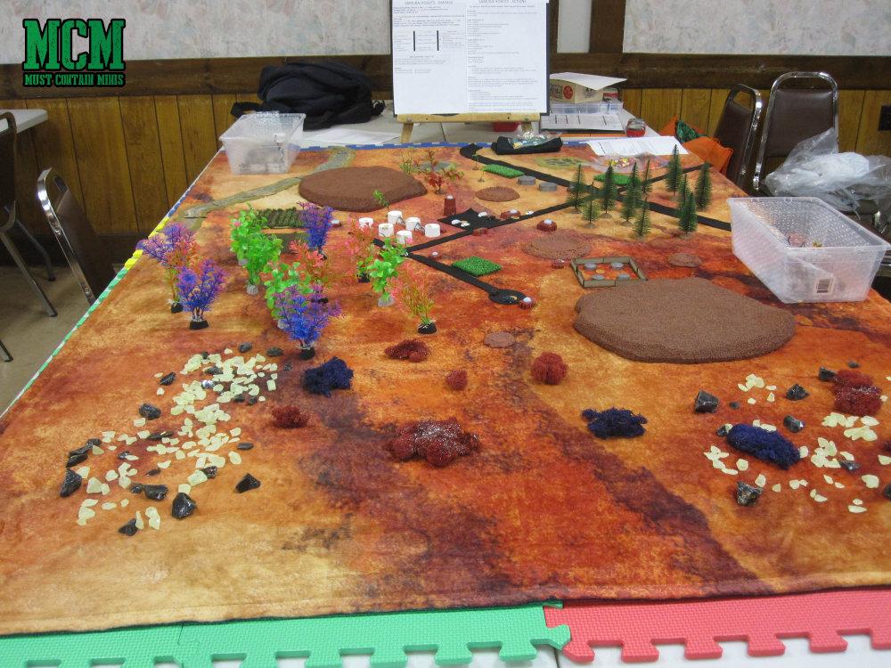 A Cigar Box Battle Gaming Mat - Red Planet for a Battle Mech Game