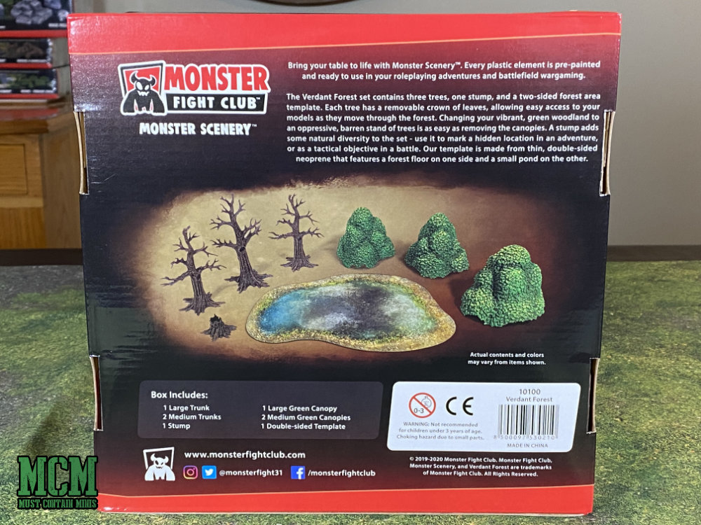 The back of the Monster Fight Club Verdant Forest box