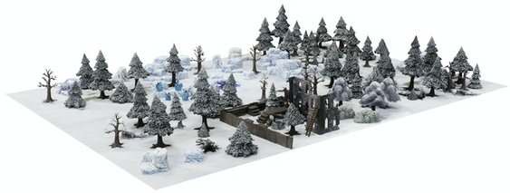 Beautiful scenes on a wargaming table. Pre-painted winter gaming terrain for 28mm to 40mm miniatures.