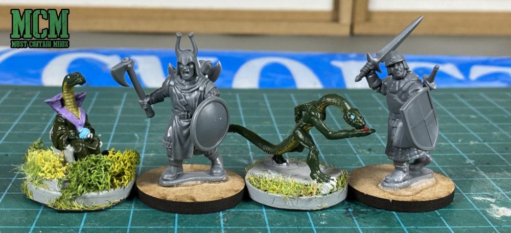 Frostgrave Knights to RAFM Serpent Men scale comparison pictures