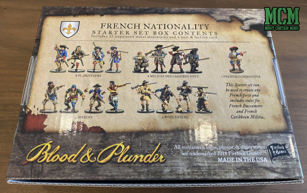 What is in the French Nationality Starter Set for Blood & Plunder by Firelock Games