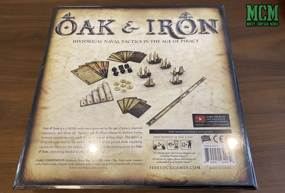 Back of the box - Oak & Iron Starter Set by Firelock Games