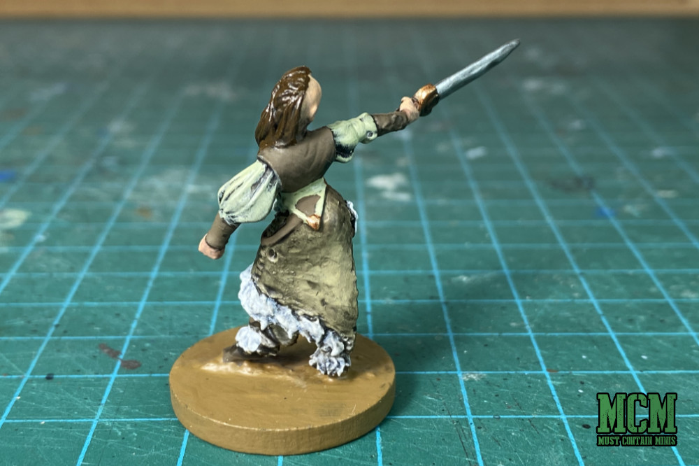 The back of a female barbarian by Westfalia miniatures for Dungeons and Dragons 5E