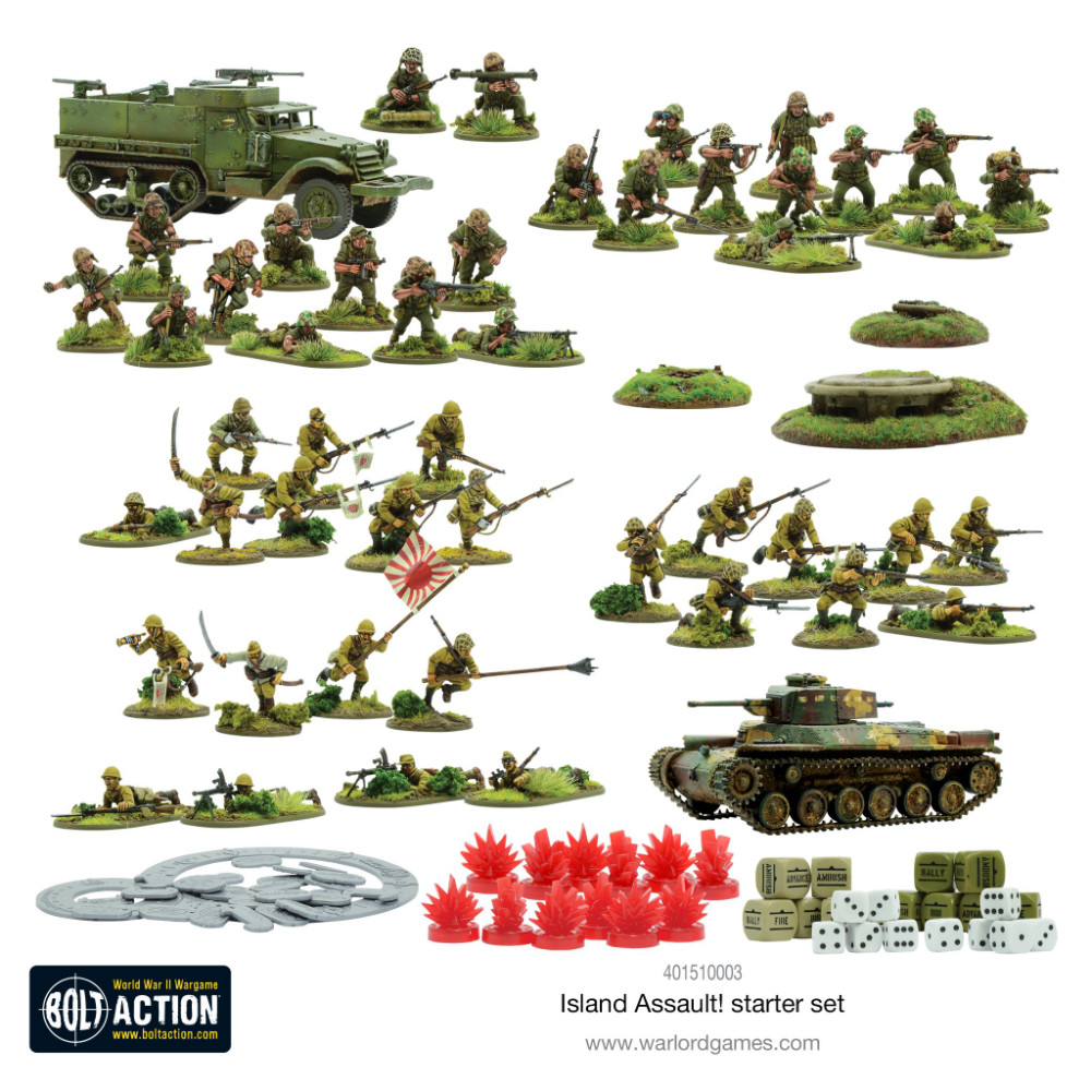 The contents of the new Bolt Action Island Assault Starter Set