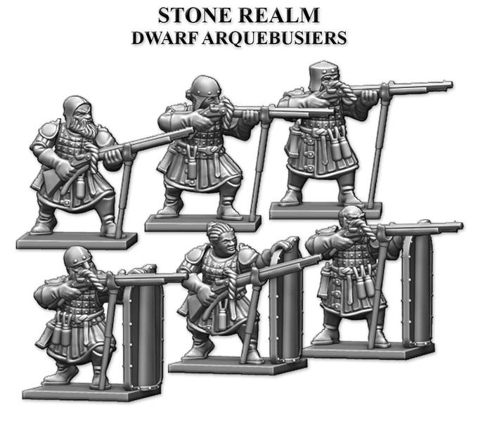 Stone Realm Dwarves - 28mm Dwarf Thunderer proxy miniatures.