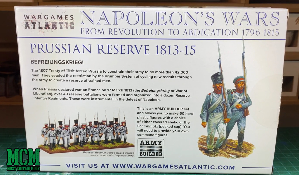 Napoleon's Wars Miniatures - Back of the box - Prussians