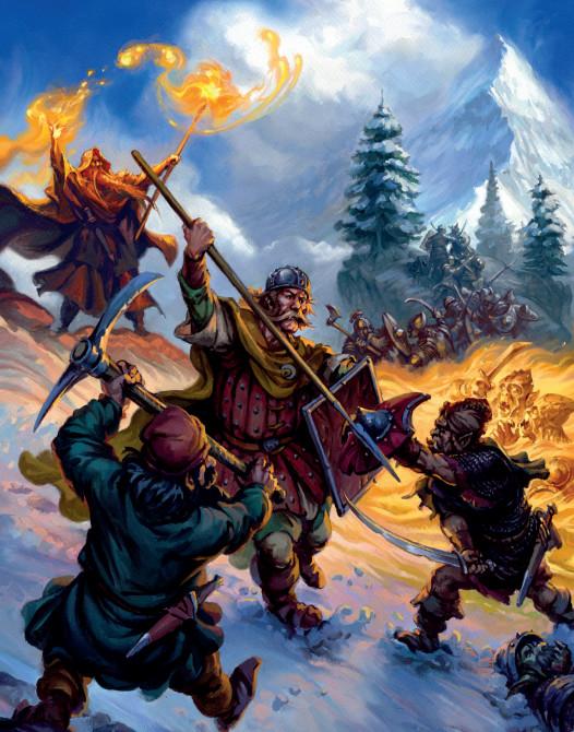 Artwork of an Oathmark Battle. Goblins vs Humans.
