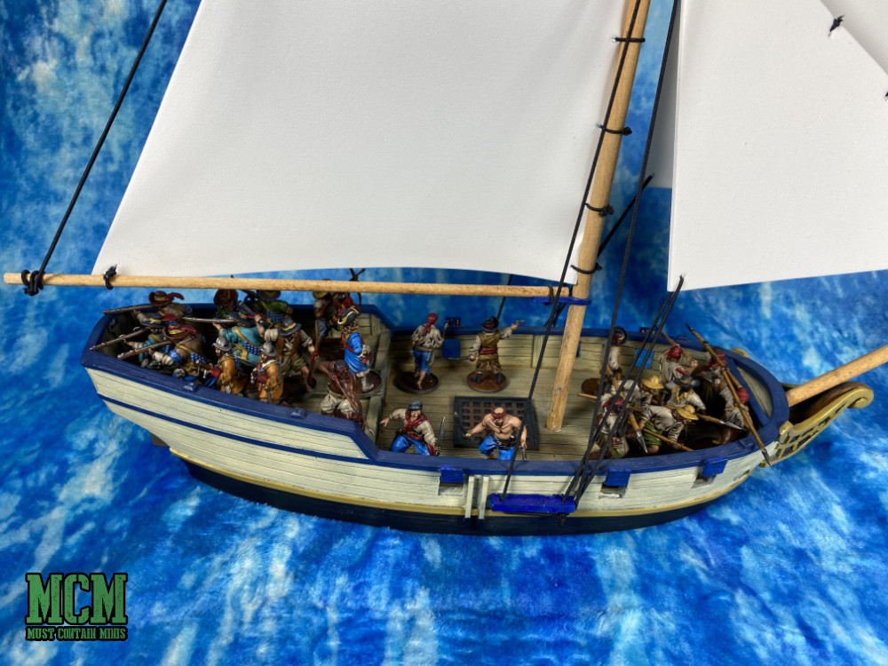 A pirate ship in a 28mm miniatures game