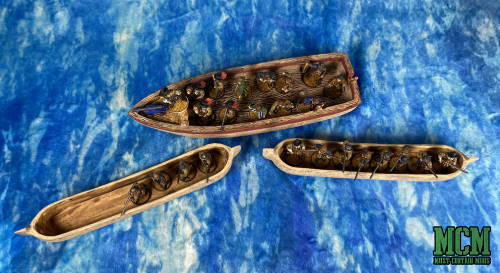 Blood & Plunder miniatures in Dug Out Canoes