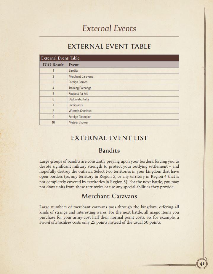External Events in Oathmark: Bane of Kings