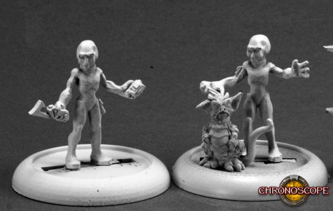 Painted Gray Aliens by Reaper Miniatures for their Chronoscope Line