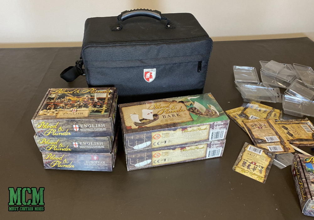 In my latest video, I unbox the following products by Firelock Games for Blood and Plunder. The Pirates And Privateers Set, European Colonial Militia Set, English Nationality Starter Set, The Bark, The Longboat, Multiple Blisters not in the sets above. While I unbox the minis, I also place them in this case. Unboxing Blood & Plunder Starter Sets