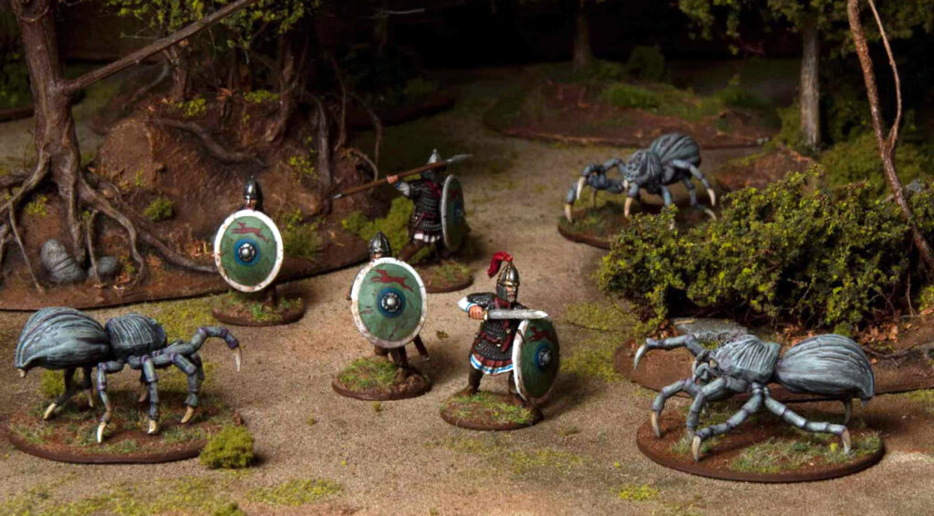 28mm Roman Miniatures paired up with fantasy miniatures by Wargames Atlantic