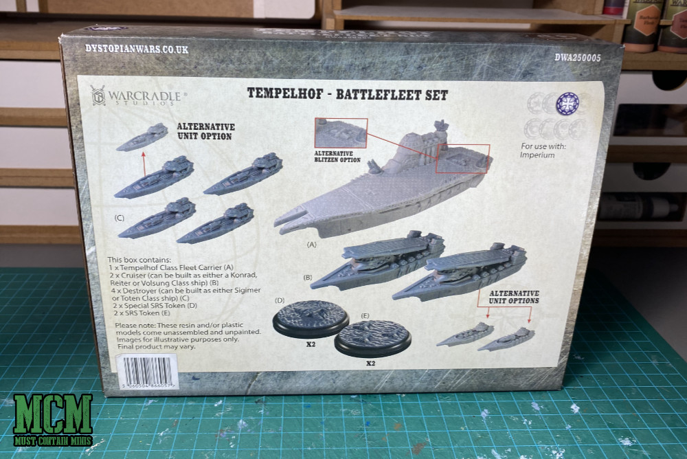 Back of the Box - Dystopian Wars Prussian Support Ships and Carriers.