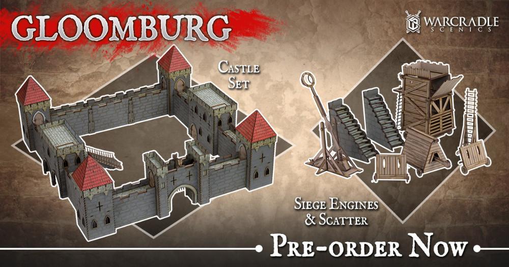 Gloomburg Castle and Siege Engines MDF Terrain