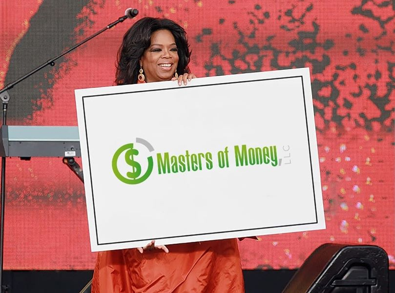 Oprah Holding A Large Masters of Money Logo Poster