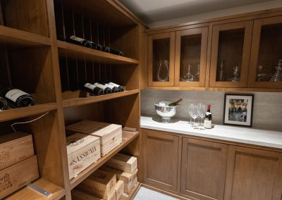 wine cellar with wood cabinets