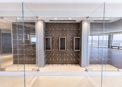 wine rack with glass doors