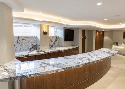 marble countertop island and bar