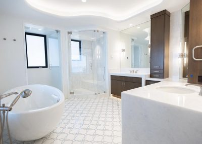master bathroom with large vanity counters, jacuzzi, and shower