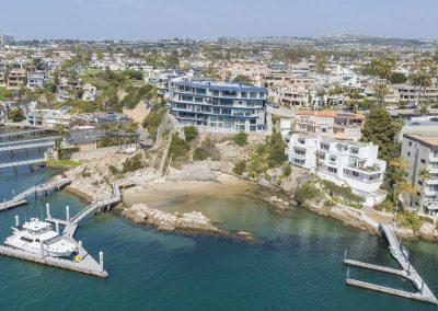 Aerie aerial shot of beach cove and marina