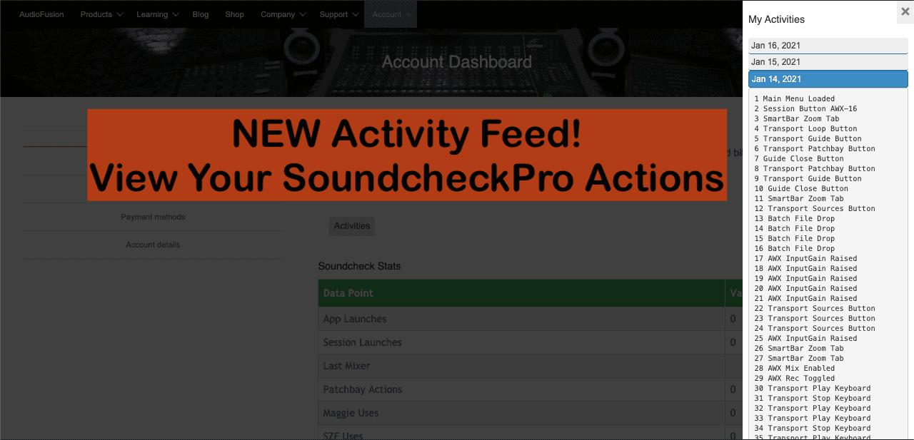 SoundcheckPro Activity Feed - SoundcheckPro Actions