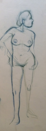 Standing Female Nude 2-18