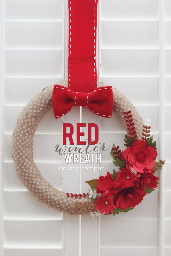 DIY Red Winter Wreath at kiki and company #cricutexplore LOVE this!