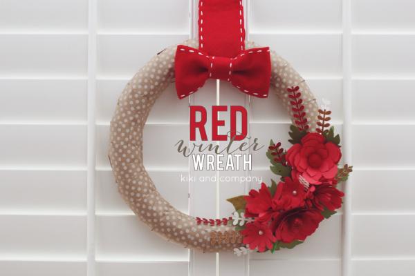 DIY Red Winter Wreath at kiki and company #cricutexplore