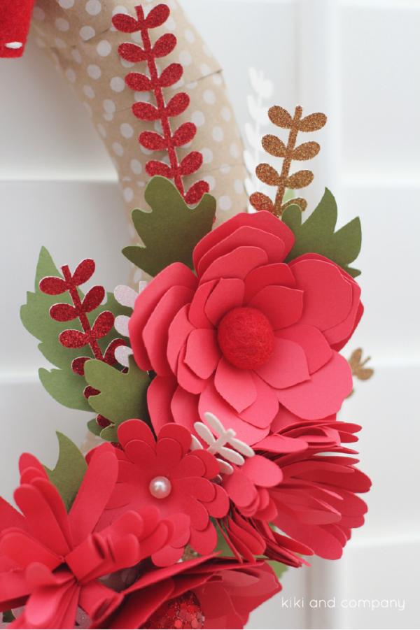 DIY Red Winter Wreath at kiki and company. So pretty! #cricutexplore
