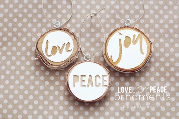 Love Joy Peace Christmas Ornaments from kiki and company