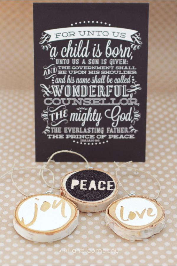 Love Joy Peace Christmas Ornaments from kiki and company. Great present idea