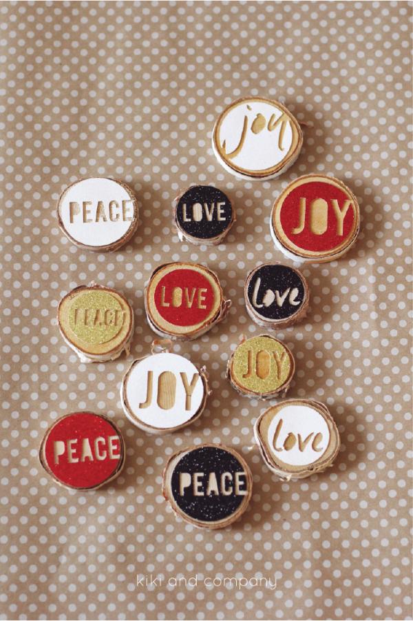 Love Joy Peace Christmas Ornaments from kiki and company. I need to make these!