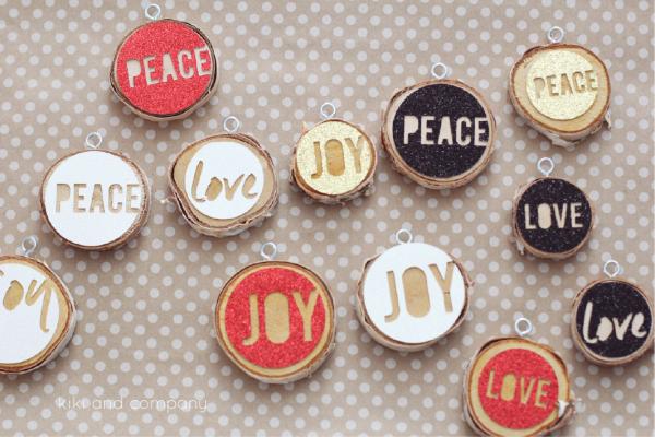 Love Joy Peace Christmas Ornaments from kiki and company. #christmas
