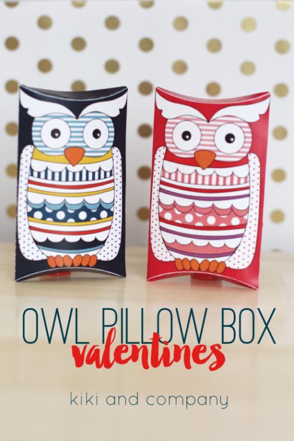 Owl Pillow Box Valentines at kiki and company