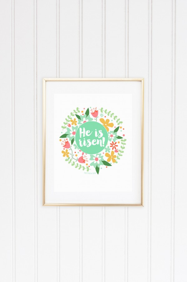 He is risen mint circle gold frame